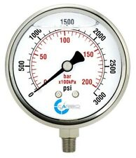 "4"" Pressure Gauge, Stainless Steel Case, Liquid Filled, Lower Mnt 3000 PSI"