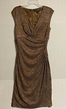 Lauren Ralph Lauren Glitter Cocktail Evening Dress Brown Gold Rn 41381 Size:8