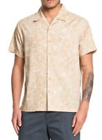 Quiksilver Mens Shirt Beige Size Large L Button Down Tropical Printed $68 #104