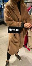 🖤 ZARA FAUX FUR COAT DARK CAMEL SIZE Medium M Soft Teddy Tan Beige Robe belt