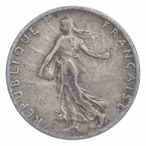 SILVER Roughly the Size of a Dime 1918 France 50 Centimes World Silver Coin *797