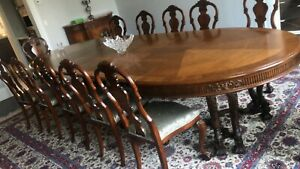 Wooden Dining Room Table with 12 Chairs