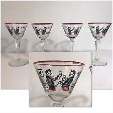 VTG Men Toasting Cocktail Wine Glasses Stemware Mid Century Art Deco Set Of 4