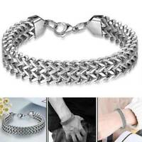 Men Boy's Fantastic Silver Stainless Steel Cuff Wristband Bangle Bracelet Simple