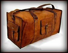New Men's duffel genuine Leather large vintage travel gym weekend overnight bag