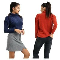 Womens Jumper Roll Neck Dropped Shoulder Long Sleeves Ladies Casual Pullover Top