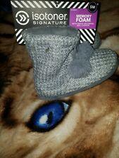 Isotoner Signature Women's Knit Myrna Boot Slipper Gray size Small 5-6
