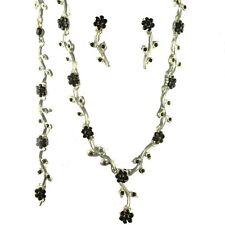 Black diamante necklace set rhinestone daily bracelet earrings prom party -070