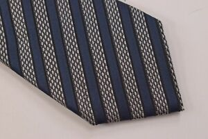 Ermenegildo Zegna NWT Neck Tie Textured Gray With Blue Stripes 100% Silk