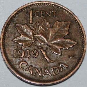 Canada 1939 1 Cent Copper Coin One Canadian Penny