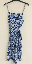 "Susana Monaco Amelia Citron 18"" Sash Dress Blue/White ~ Sz 6 ~ NWT"