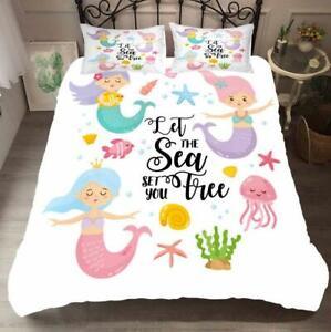 Cartoon Mermaid Kids Duvet Cover Twin/Full Bedding Comforter Cover PillowCase