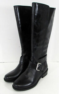 Me Too Womens Darcey Leather Riding Boot Shoes, Black Calf, US 7