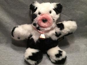 VERMONT TEDDY BEAR TAKE ALONG TEDDY  - BLACK/WHITE COW w/BELL