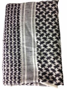 SHEMAGH Arab Head Scarf NEW Check Plaid Tassel 120 x 100 cms Cotton Black White