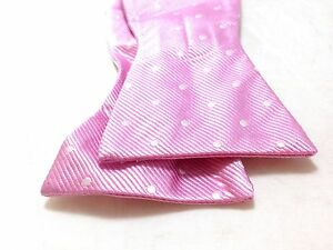 $65 Tommy Hilfiger Mens Pink White Polka Dot Classic Bow Tie Adjustable Bowtie