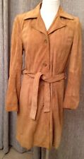 OLD NAVY Classic Camel Golden Tan Soft Leather Suede Lined Trench Coat Jacket S