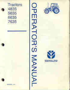 NEW HOLLAND TRACTOR 4835 5635 6635 7635 OPERATOR MANUAL