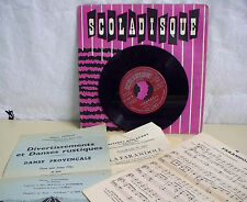 Georges AUBANEL Vinyle 45T FARANDOLE + Partitions SCOLADISQUE N° 2005 RARE
