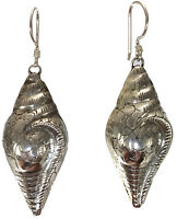 Vintage Style Conch Shell shaped earrings jewelry genuine 925 sterling silver