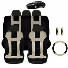 NEW BEIGE & BLACK POLYESTER SEAT COVERS & STEERING COMBO 12PC SET FOR CARS 2322