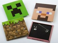 Minecraft Pins - Creeper, Dirt Block, Pig and Steve - 4 Pack Jinx Licensed