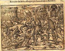 "Leclerc's Bible Figures - Woodcut - ""REVOLTE OF SEBA BY THE REBEL'S DEATH"" -1614"