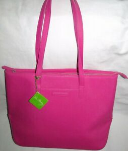 New Vera Bradley Saffiano Fuchsia Pink Large Travel Tote Bag Damaged Sold AS IS