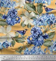 Soimoi Fabric Leaves,Periwinkle &  Floral Print Fabric by Meter-FL-1426M