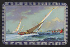 1 Single VINTAGE Swap/Playing Card EN SCENE SAILBOAT 'WINDY DAY COWES WI-6-1-A
