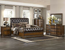 ALORA-5pcs Traditional Brown King Size Tufted Bonded Leather Sleigh Bedroom Set
