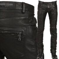 2018 mens Punk Rock black Leather Motorcycle Slim Fit leather Pants Trousers  sz