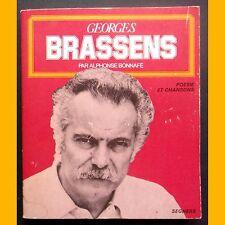 GEORGES BRASSENS Poésies et Chansons Alphonse Bonnafé 1978