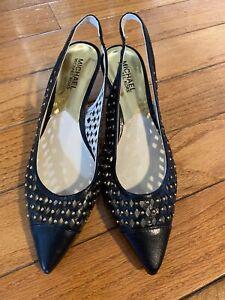 Michael Kors NWOB Black Leather Gold Studded Sling Back Kitten Heels 7.5