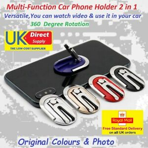 UNIVERSAL 2 IN 1 MULTI-FUNCTION CAR PHONE HOLDER WITH FINGER RING 360 ROTATES