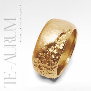 Exklusiver breiter Goldring 585 Gelbgold Handarbeit ► massiv 14K Gold Ring NEU