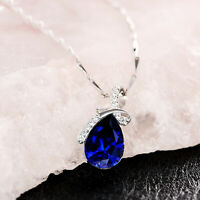 4.10 Ct Simulated Blue Sapphire Heart Pendant Necklace 18K White Gold Plated