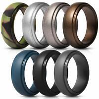 7pcs Silicone Wedding Ring for Men Rubber Wedding Bands Step Edge Sleek Design