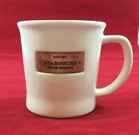 "Starbucks Coffee Mug Cup White Copper Badge 2010 16 oz. Rare Ceramic 4""x4"" EUC"