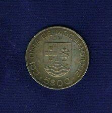 MOZAMBIQUE (COLONY OF PORTUGAL) 1935 5 ESCUDOS SILVER COIN, ALMOST UNCIRCULATED