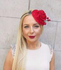 Red Velvet Rose Berry Leaf Flower Fascinator Headband Hat Vtg Races 1950s 2465