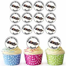 F1 Red Bull Race Car 24 Personalised Pre-Cut Edible Birthday Cupcake Toppers