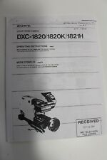 Sony DXC-1820/1820K/1821H Color Video Camera Operating Manual Instruction COPY