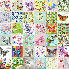 36 Different Butterfly / papillon Vintage Paper Napkins for decoupage