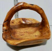 Hand Carved Artisan Solid Wood Handled Fruit Basket Centerpiece Bowl Burl Maple