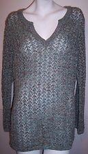 Liz Claiborne Sweater 1X Green Pointelle Pullover Open Weave Metallic Tunic Top