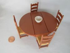 Vintage Fisher Price Dollhouse MINIATURE DINING ROOM SET TABLE & CHAIRS 1978