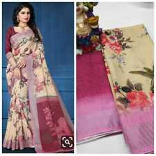New Print Work Linen Saree Sari Beige Color Party Wear Fancy Sari Printed Blouse