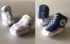 Infant Converse Booties 0-6 Months - 2 Pairs Unisex Baby Girls Boys Slip-on Sock