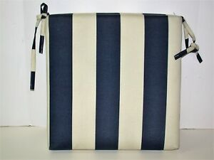 Resort Spa Outdoor Patio Seat Pad Cafe Stripe ~ Navy Ivory ~ 17 x 17 x 3 REDUCED